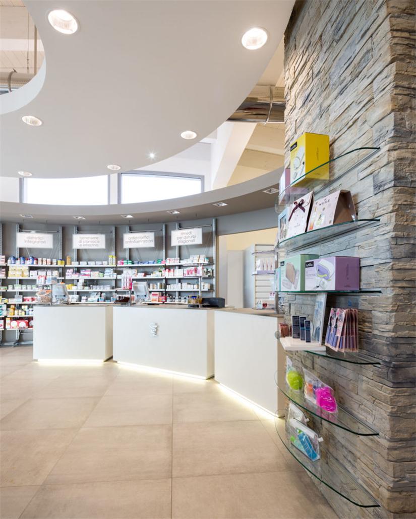 Dello rosso small pharmacy interior design why custom design